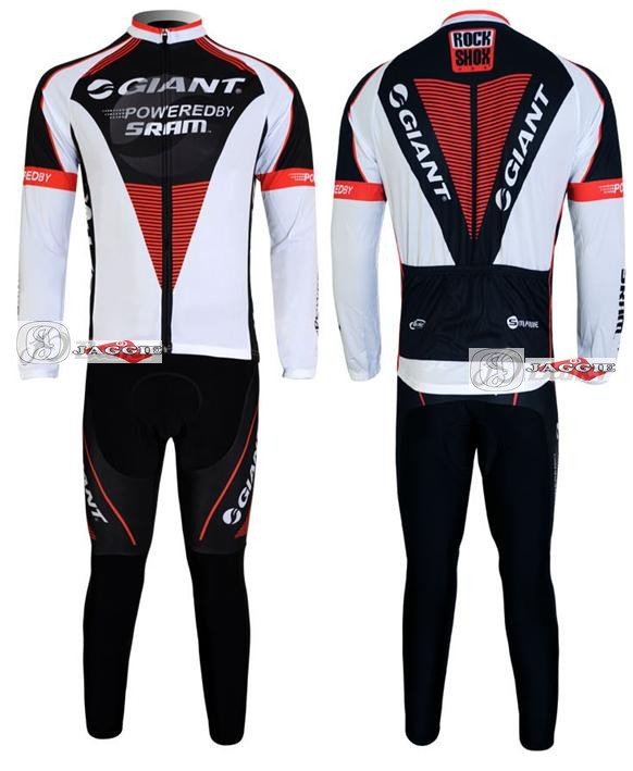 New arrived!!! GIANT long sleeve cycling wear clothes bicycle/bike/riding jerseys+Z123 sets(China (Mainland))