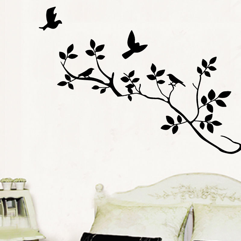 Free Shipping Home Decor Vinyl Wall Sticker Tree Branch Flying Birds Black Room Decal Art Mural Wallpaper(China (Mainland))