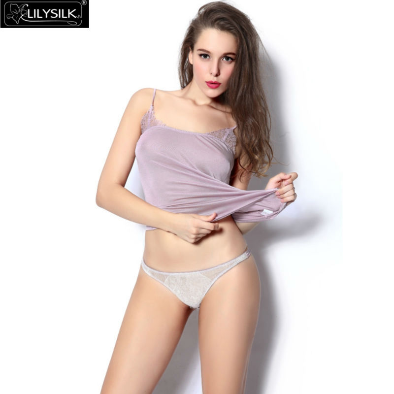 Lilysilk Underwear Women Silk Panty Sexy Lace Low Rise Brief Classic Breathable Comfortable Anti Bacteria Cute Mujier Summer(China (Mainland))