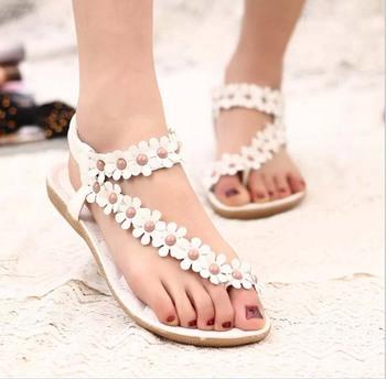 Hotsales Summer Women Sandals 2015 Fashion Bohemia Women's Shoes Flower Sandalias Femininas Casual Thong Flats Shoes Women