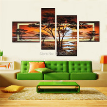 100%handpainted 4 pcs/set yellow modern landscape oil paintings on canvas wall art African pictures for living room home decor(China (Mainland))