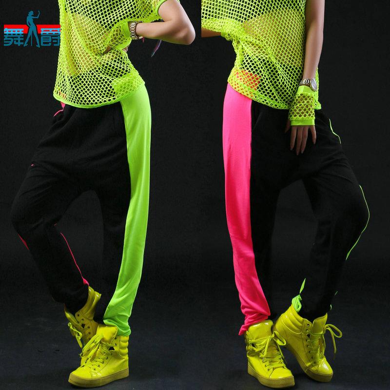 2015 moda de nueva marca Harem Hip Hop danza pantalones pantalones deportivos desgaste puesta en escena trajes de neón femenino de jazz(China (Mainland))