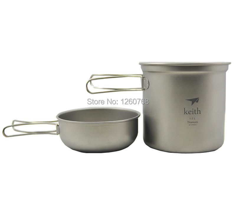 Keith lightweight Pot Set Camping Cookware Titanium Pot Folding Bowl Ti6051(China (Mainland))