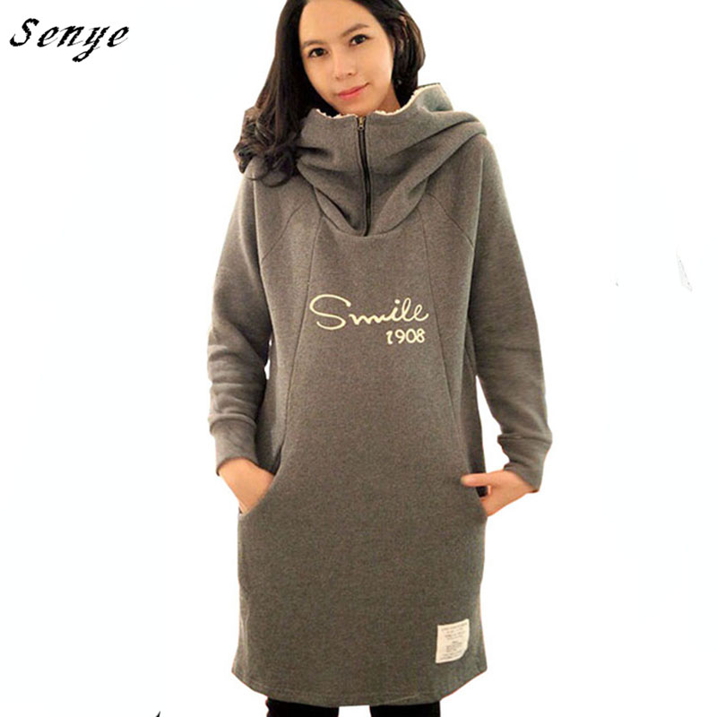 2016 Long-sleeve Gray Pregnant Clothing Hoodies Outerwear Autumn Winter Maternity Clothing Plus Size Thermal Sweatshirt Hood <br><br>Aliexpress