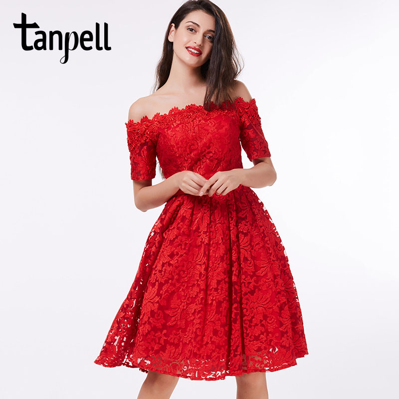 Tanpell off the shoulder cocktail dress red lace A-line knee length short sleeves dress homecoming short cocktail party gown(China (Mainland))
