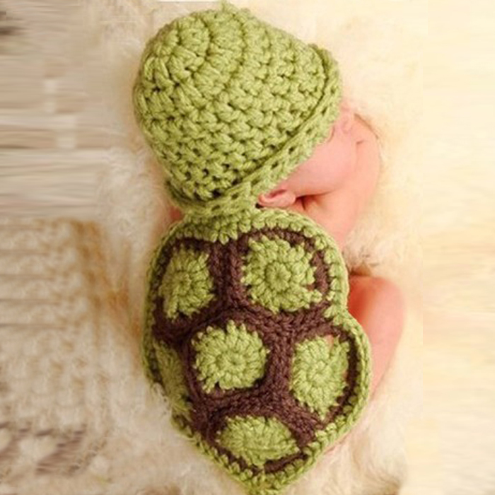 Puscard Hot Sale Baby Newborn Turtle Knit Crochet Clothes Beanie Hat Outfit Photo Props Free Shipping(China (Mainland))