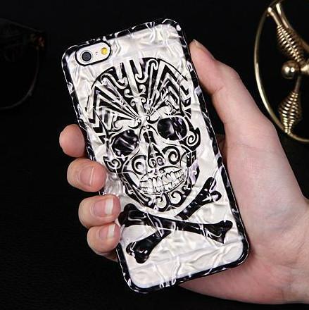 "2015 New Arrivel Fashion Cool Luxury Electroplating + PC Skull Hard Back Cover Phone Case For Iphone 6 4.7"" YC335(China (Mainland))"