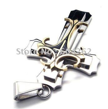 Retail + wholesale!Free Shipping!  316L Stainless Steel cross Pendant Necklace 10017016