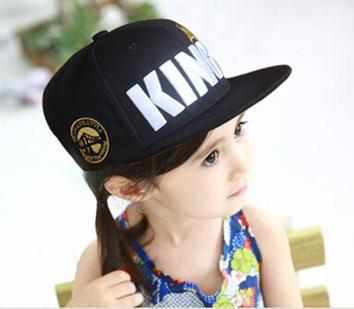 Free shipping kids snapback black red blue hats boys king caps summer kids fitted baseball caps summer baby boy hiphop hats free(China (Mainland))