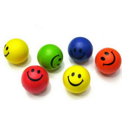 Dia 6.3cm Stress Ball Novetly Smile Face Print Squeeze Ball Hand Wrist Exercise Stress Ball PU Rubber Toy Balls(China (Mainland))