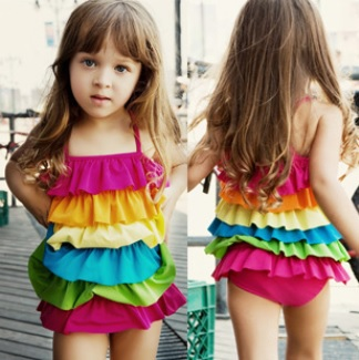 2014 Rainbow Girls Bikini Swimsuits 6 layers Colorful Swimwear one-piece swimming clothes Retail<br><br>Aliexpress