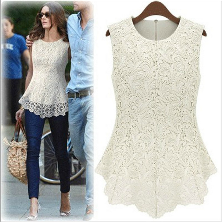 ST254 New Fashion Autumn Chiffon Lace Casual Shirts Women Clothing Slim White Sleeveless Blouse Plus Size - First Mall store