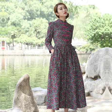 S-2XL plus size women autumn winter new dress Corduroy vintage dress female camisa feminina oversized desigual clothing WJ795(China (Mainland))