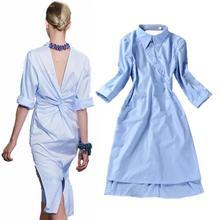 New Runway Fashion Women's Novelty Back V Open Asymmetrical Designer Shirt Dress Turn-down Collar OL Work Wear camisa feminina(China (Mainland))