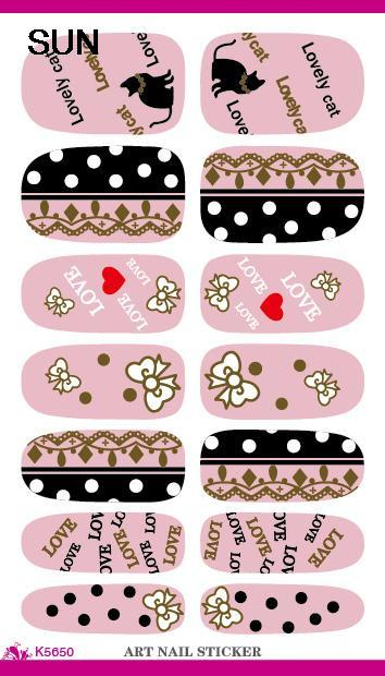 New Arrive Cute Cartoon Nail Sticker Lovely Cat Design Manicure Decals Minx Nails Decor Tools Water Transfer Nail Art Sticker(China (Mainland))