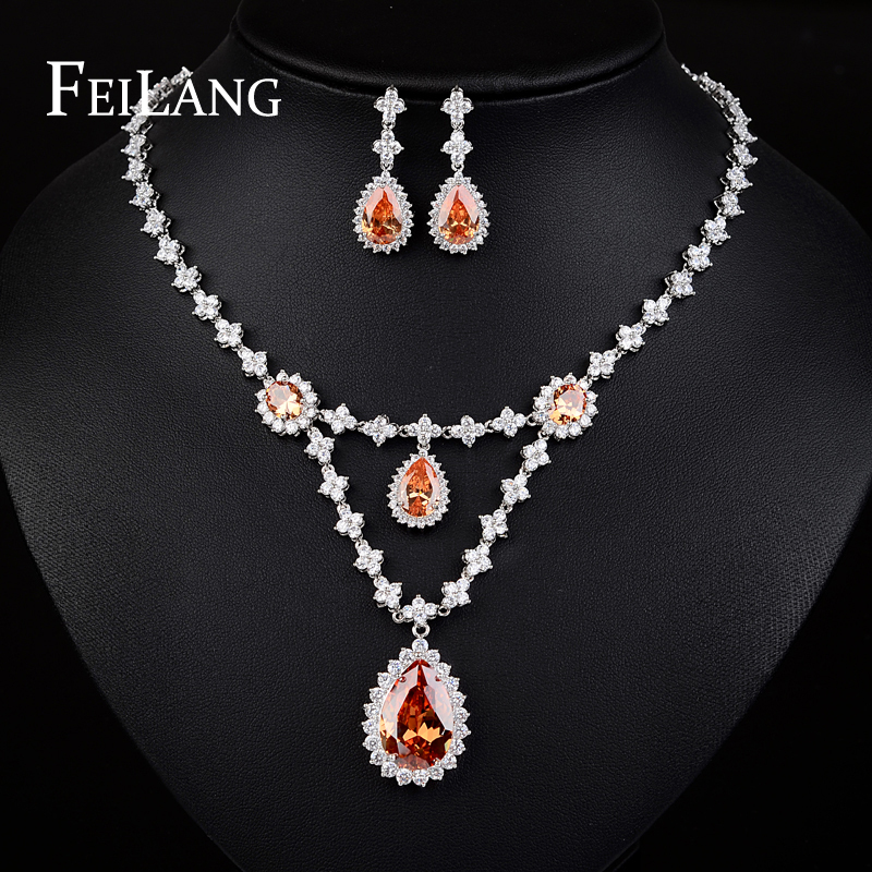 FEILANG 3 Colors Option White Gold Plated Champagne AAA+ CZ Diamond Wedding Bridal Jewelry Set for Women (FSSP101)<br><br>Aliexpress