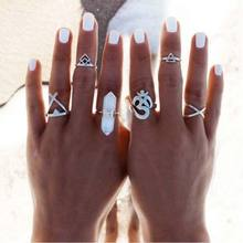 Buy 6pcs/Set Vintage Punk Ring Set Hollow Antique Silver Plated Lucky Midi Rings Women Boho Jewelry Gypsy Adjustable Knuckle Ring for $1.00 in AliExpress store