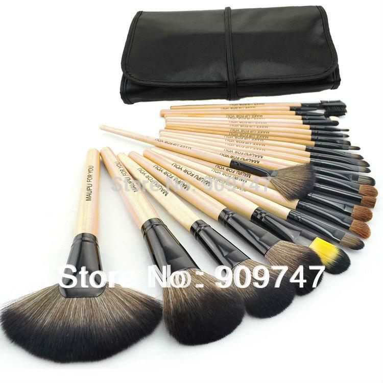 Professional 24 pcs Makeup Brush Set tools Make-up Toiletry Kit Wool Brand Make Up Brush Set Case Cosmetic brush free shipping(China (Mainland))