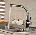 Polished Chrome Cheapest Kitchen Hot Cold Water Faucet Deck Mount One Hole Mixer Tap Single Handle