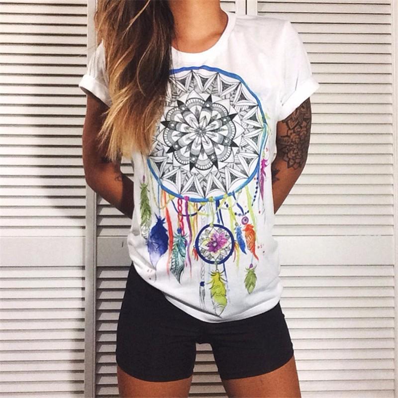 t short women Europe And America Summer Fashion Women Cotton Prints Short Sleeve O-Neck T-shirt 9 Colors Tops Shirt