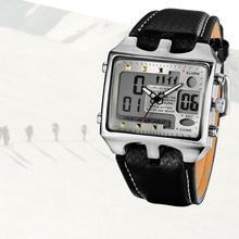 Fashion Vintage Men Rectangle Stainless Steel Case Sport Black PU Leather Band Digital Quartz Wrist Watch