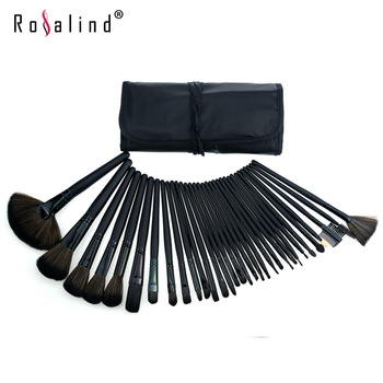 Rosalind  New 2015 Professional 32 pcs Professional Cosmetic mc Makeup Brushes Set + Pure Black Leather Bag Makeup Tools Beauty