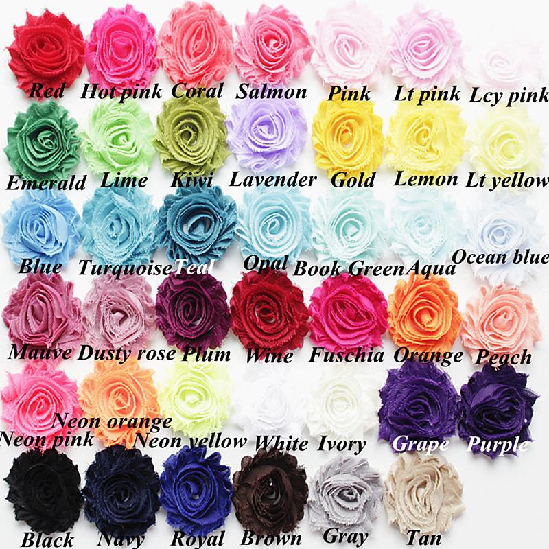 "New 15yds/lot 47colors 2.5"" chic shabby frayed chiffon Rosette trim yard chiffon flowers for baby girl headband hair Accessories(China (Mainland))"
