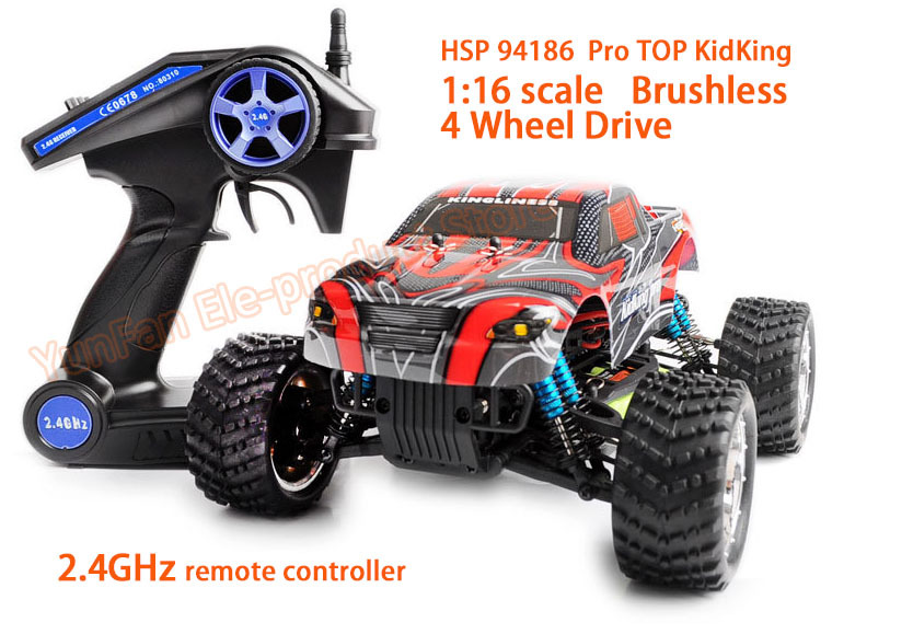 DHL fast shiping HSP 94186 Pro 2.4GHz Remote Control Toys 1/16 Scale bushless motor Off-road Monster Truck RC Hobby Car RTR(China (Mainland))