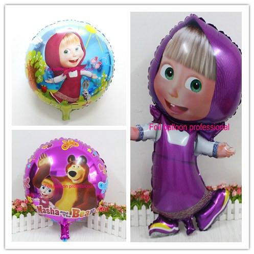 Гаджет  3pcs/lot Masha and bear party balls Cartoon character martha Foil Balloons birthday Party decorations kids party Supplie None Игрушки и Хобби