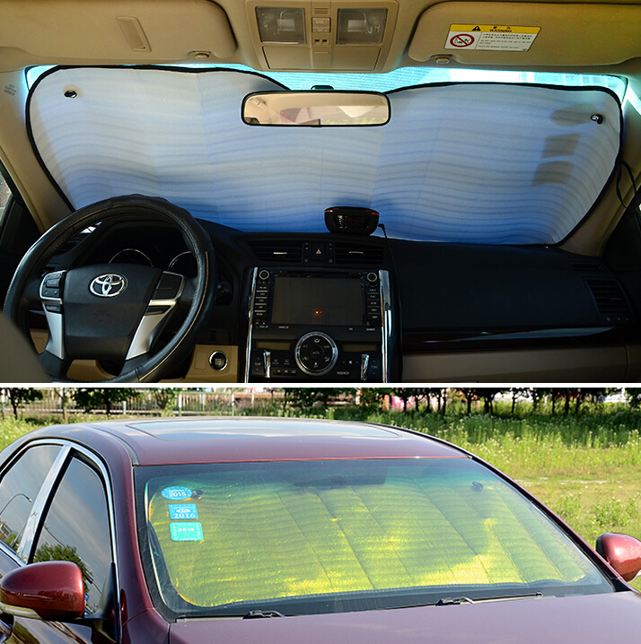2PCS/SET Aluminum Foil Foldable Front Rear Window Sun Shade Car Windshield Visor Cover Block Car Window Glass Safety Shade(China (Mainland))