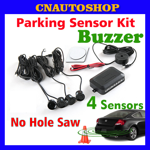 Buzzer 4 Sensors No Hole Saw Drill Sound Alert Indicator Car Parking Sensor Kit 22mm 12V 7 Colors Reverse System Free Shipping(China (Mainland))