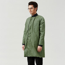 2016 Spring and Autumn New Men's Trench Coat Leisure 100% Cotton Pure Color Long Sleeved Trench Coat XXL D207(China (Mainland))