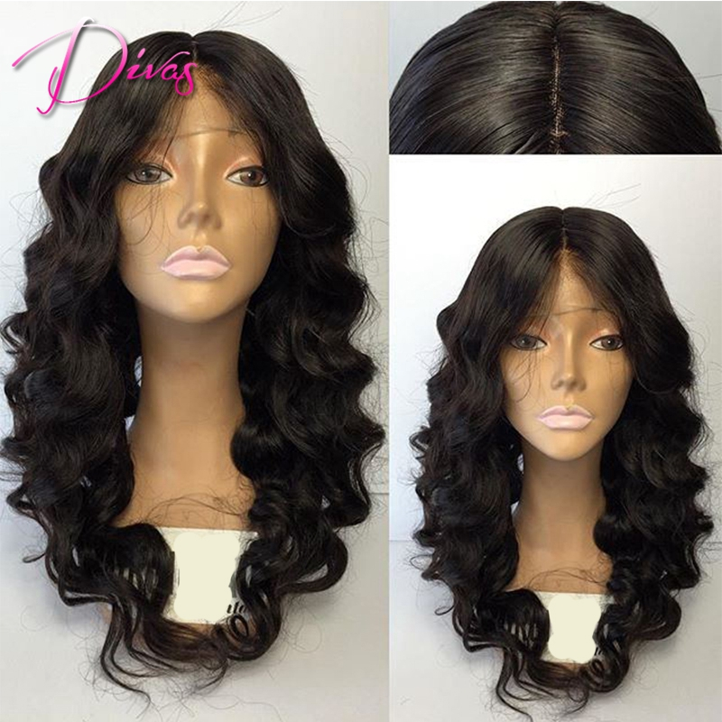 Фотография Loose Wave Unprocessed Virgin Brazilian Human Hair Full Lace Wigs Natural Color Real Hair Lace Front Wig for Black Women