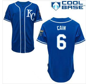 Cheap Stitched Men's Kansas City Royals #6 Lorenzo Cain Baseball Jersey Dark Blue(China (Mainland))