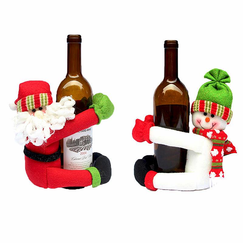 2016 christmas cute cartoon santa claus red wine bottle for Cute wine bottles
