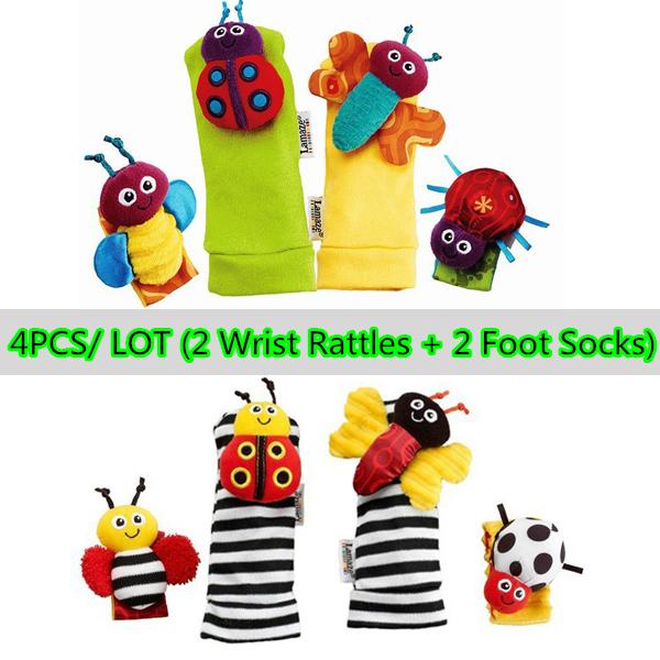 Гаджет  (4pcs/ lot) Free shipping baby sock and baby rattle toys Garden Bug Wrist Rattle Foot Socks(4pcs/ lot) None Детские товары