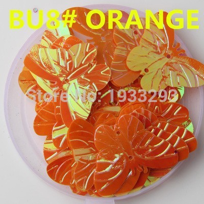 50PCS Orange Color 22*30mm Large Butterfly Sequins with 2 holes &Paillette Sewing glitter stickers in children serioms&Clothing(China (Mainland))