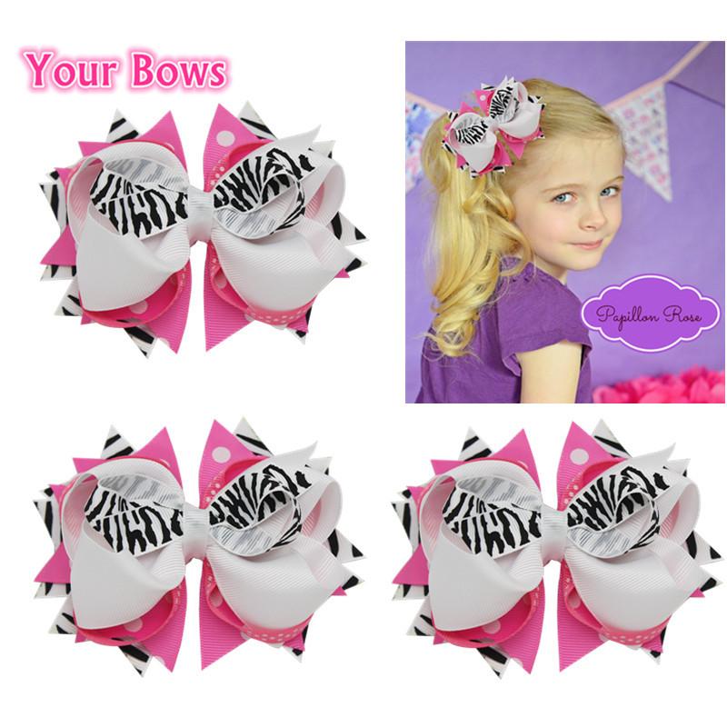 Bows 1PC 5Inches Stacked Girls Hair Bows White Zebra Hot Pink Bows Hair Clips Grosgrain Ribbon Kids Bows Hair Accessories