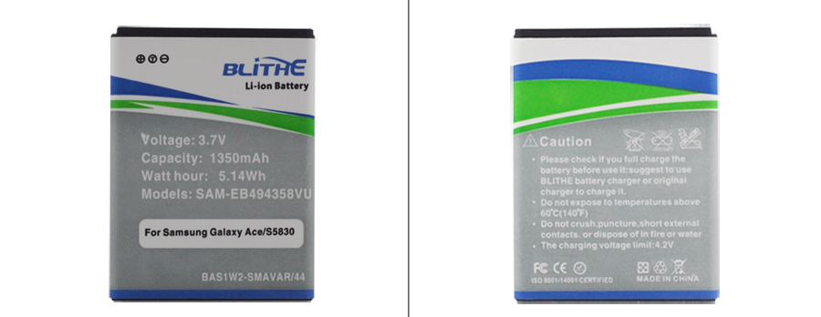 Blithe Real 1350mAh 3 7V Li ion Battery for SAMSUNG Galaxy Ace S5830 Galaxy Fit Galaxy