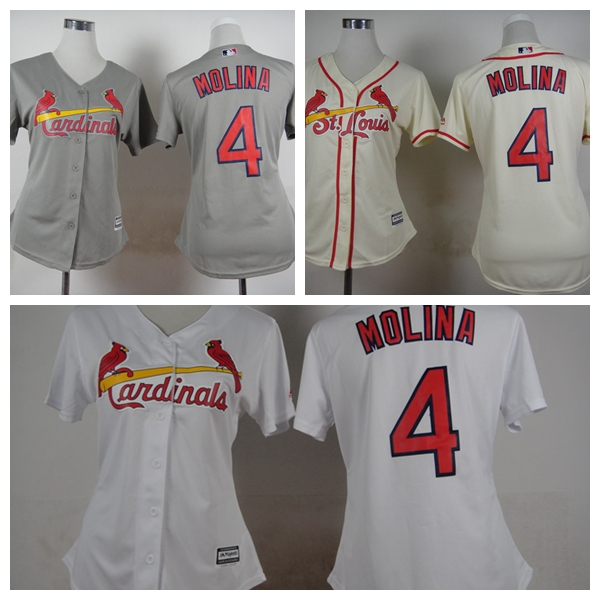 Cheap Womens St. Louis Cardinals Jerseys #4 Yadier Molina Baseball Jersey,Size S-XXL,100% Embroidery Logos Mixed Orders