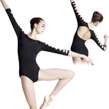 Сексуальная спинки комбинезон взрослый девушка черный 3/4 с длинным рукавом танец практика купальник хлопок-спандекс гимнастический балетные купальники для женщин