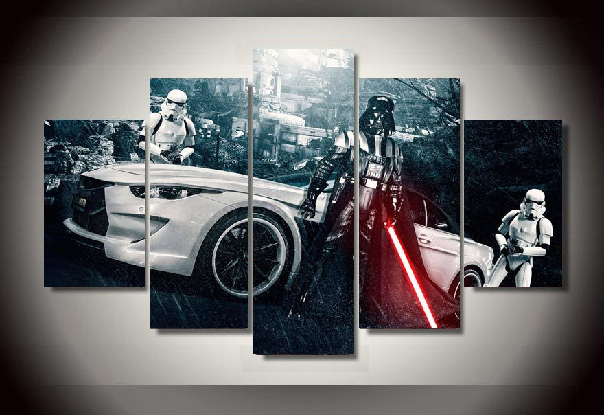 Framed Printed Star Wars Movie 5 Piece Picture Painting
