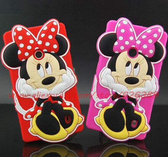 For Nokia Lumia 520 Case Cover 3D Cartoon Silicone Minnie Mouse Cell Phone Back Cases For Nokia Lumia 520 N520(China (Mainland))