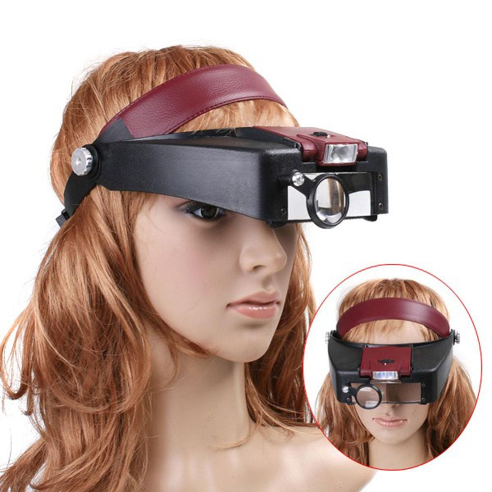 New Arrival Headset 10X Magnifier Magnifying Glass Lens Loupe with LED Light Jewel Repairfree shipping