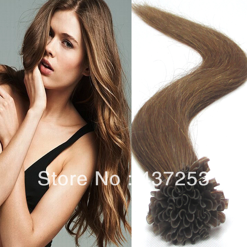 18 inch 20 22 inch#12Golden Brown Brazilian Remy Hair Extensions Pre bonded Nail U Tip Keratin Glue 100% Silky Soft Human - Fashion&Hair Beauty store