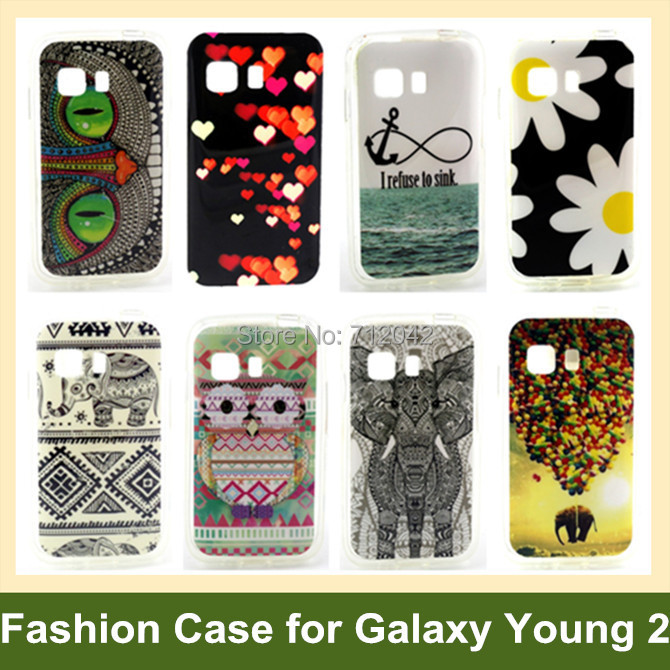 Fashion Tribe Animal Elephant Owl Flower Wind Chime Soft TPU Phone Case for Samsung Galaxy Young 2 G130 30pcs/lot Free Shipping