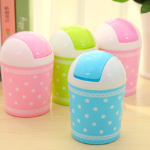 Free shipping!Cute And Fresh Lace Wave Point Desktop Storage Barrel Creative Fashion Mini With A Trash Can 11.5*17cm(China (Mainland))