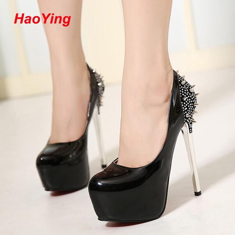 women shoes high heel platform pumps women sapato feminino rivet  pumps shoes black heels red bottoms shoes for women D346<br><br>Aliexpress
