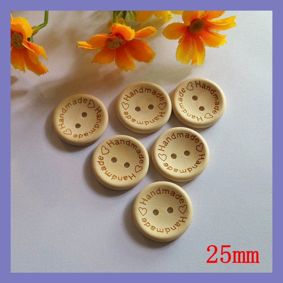 """80pcs 25mm Button wholesale circular laser """"Hand Made"""" wooden buttons buttoned shirt sweater buckle baby children(China (Mainland))"""