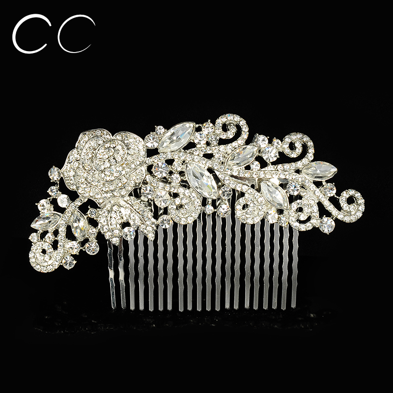 Exquisite Chasing Luxurious Flower Hair Jewelry Austrian Crystal Hair Combs for Women Wedding Party Fashion Bijoux Femme A033(China (Mainland))